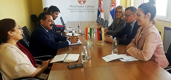 Dr. Jitendra Singh, Minister of State (PMO) meeting with Mr Branislav Nedimovic, Minister of Agriculture and Environmental Protection of Serbia in Belgrade